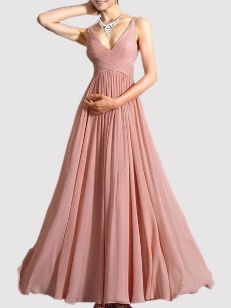 Buy Vintage Surplice Chiffon Plain Maxi-dress online with cheap ...