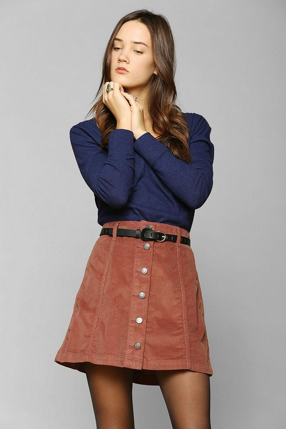 A Line Skirt With Buttons