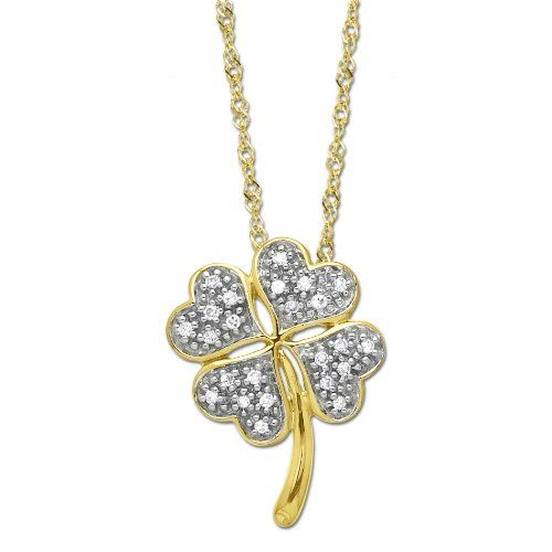XPY 10k Yellow Gold Diamond Four Leaf Clover Pendant Necklace (.072cttw, I-J Color, I2-I3 Clarity), 18 $145.00