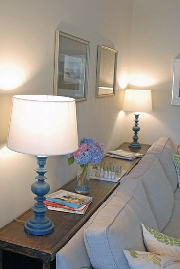 Console table between the sofa and the wall or use bed for Slim table for behind couch