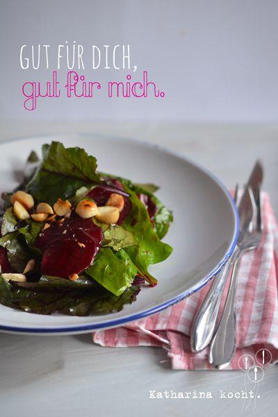 Salat mit Roter Bete, Spinat und gegrilltem Ziegenkäse - Katharina kocht