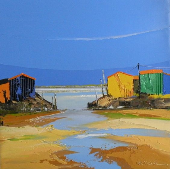 Les cabanes painting par eurgal huile sur toile peinture au couteau coups de artistiques - Peinture au couteau huile ...