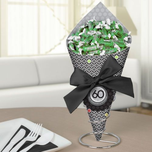 Adult 60th birthday candy bouquet with frooties for 60th party decoration ideas