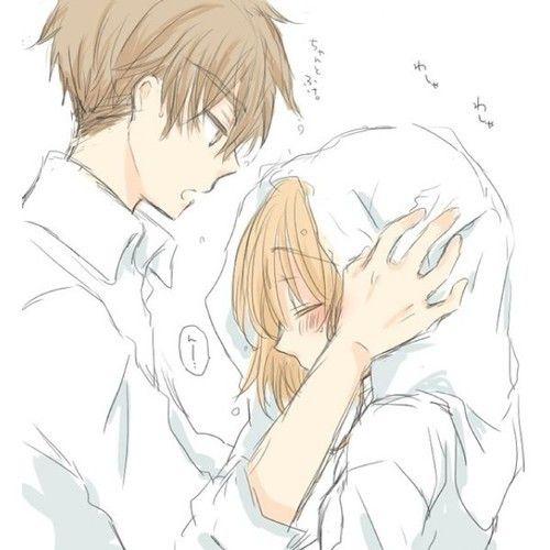 Аниме парень и девушка обнимаются картинки
