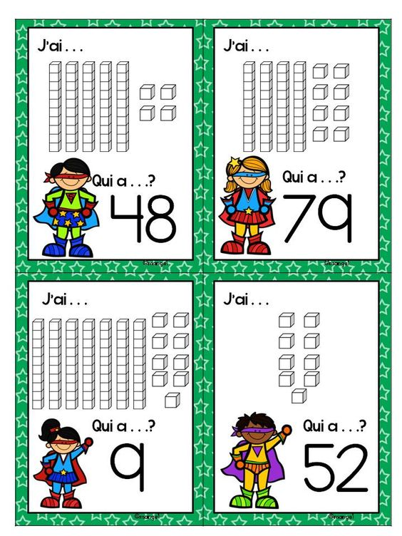 """$ Place Value """"J'ai. . . Qui a. . .?"""" cards in French! Uses base 10 blocks to represent numbers."""