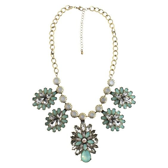 Acrylic Bib Fashion Necklace with Acrylic Stones - Mint, Women's, Gold/Mint