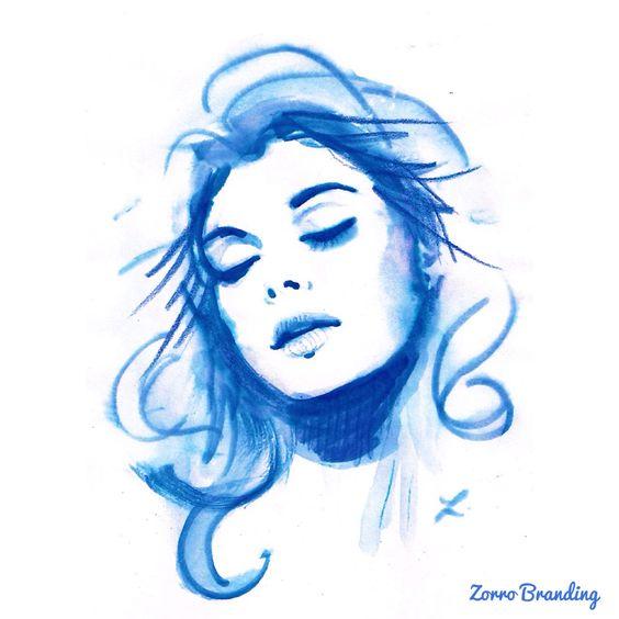 Pintura en acuarela, diseño de Zorro Branding. ilustración.