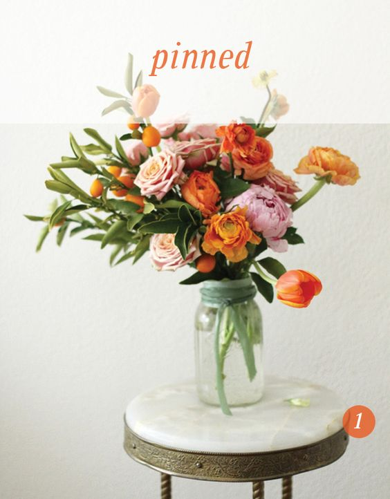 fruit & flowers...simple ribbon on vase