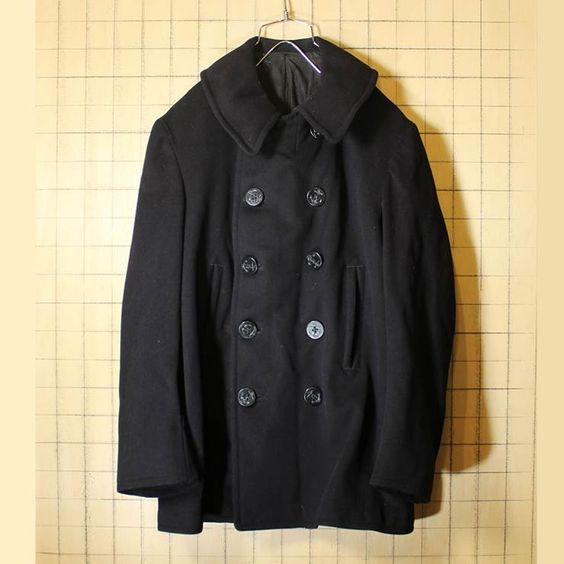 1930s-40s Pコート US NAVY NAVAL CLOTHING FACTORY 10ボタン 刺繍タグ チンスト メンズMLサイズ相当