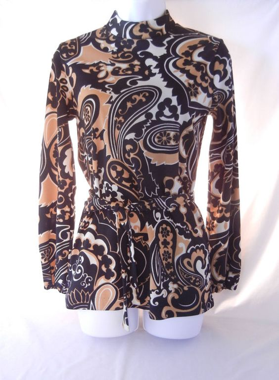 60s 70s Tunic Top Pop Art Mod Tan Black White Psychedelic, High Collar, Long Bishop Sleeves Tie Belt, White Stag, Small Size by CandyAppleCrafts $40