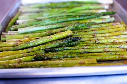 Oven-Roasted Asparagus | The Pioneer Woman...Preheat oven to 425; Rinse asparagus; chop off bottom inch or so (tough white part); spread out on single layer on rimmed baking sheet and pat dry.  Drizzle with olive oil.  Sprinkle with kosher salt and pepper.  Roast in oven for 10 mins.