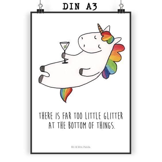 poster din a3 unicorn cocktail mit spruch aus papier 160 gramm wei das original von mr mrs. Black Bedroom Furniture Sets. Home Design Ideas