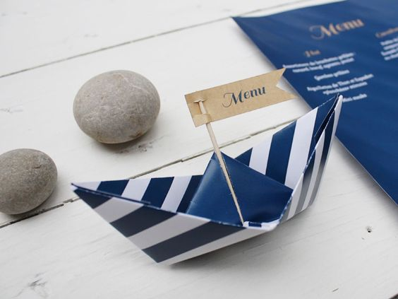 Menu pliage bateau i th me marin i design by cr me de papier cr me de papier mariage - Pliage serviette porte menu ...