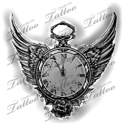 marketplace tattoo vintage wing clock 16837