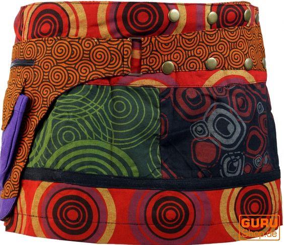 #Minirock mit #70er-Jahre-#Patchwork-Muster und integriertem #Geldgurt.