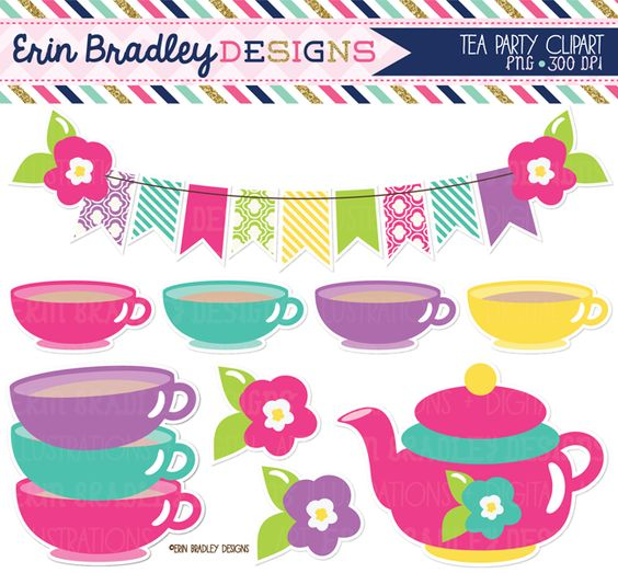 Instant Download Tea Party Clipart Set Teacups Teapot and Bunting Girls Digital Clipart Graphics Personal & Commercial Use