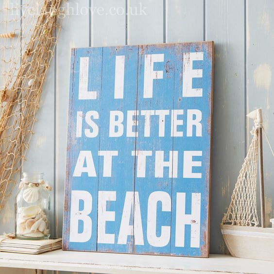 Life Is Better At The Beach Large Wooden Sign