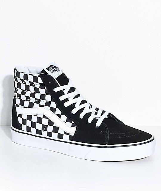 black low top checkered vans