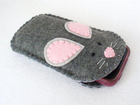 Fieltro Iphone caso gris ratón con orejas rosa