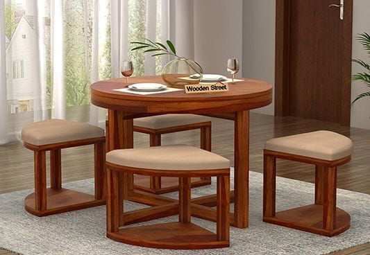 Alvan 4 Seater Round Dining Set Honey Finish Round Dining