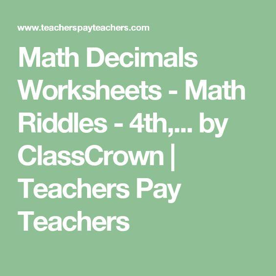 Math Decimals Worksheets Math Riddles 4th 5th 6th 7th Grade – Common Core Decimal Worksheets