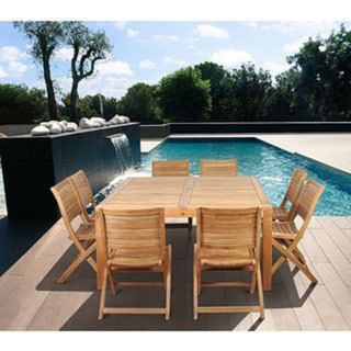 Amazonia Montpellier 9-piece Square Teak Dining Set