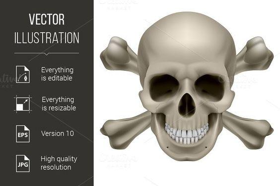 Realistic skull and bones. $5.00