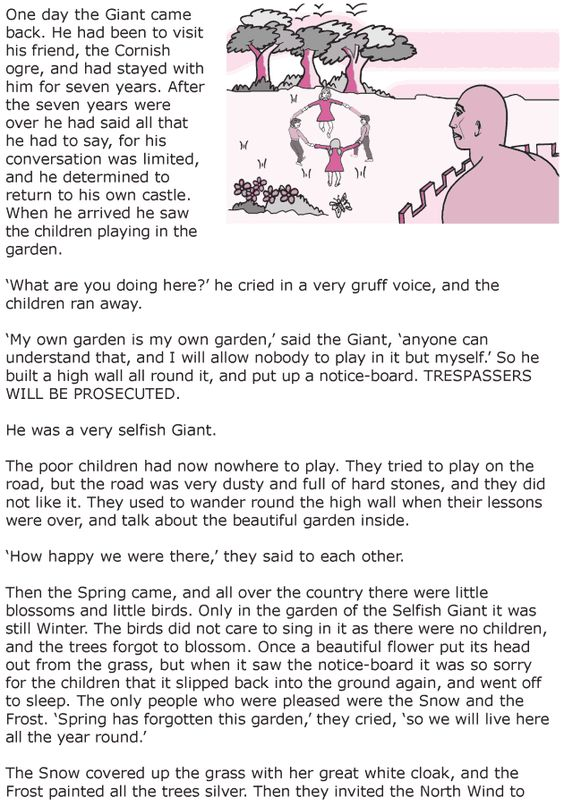 Worksheets English  Short Stories Grade 6 grade 6 reading lesson 20 short stories the selfish giant 1 1