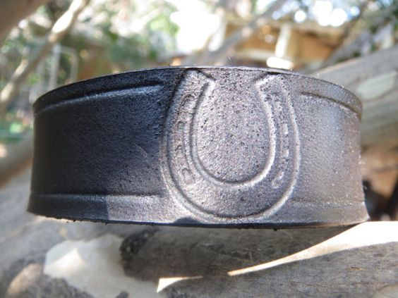 Lucky Horseshoe Leather Cuff Black Horse Shoe by ShipwreckedCharms, $10.00