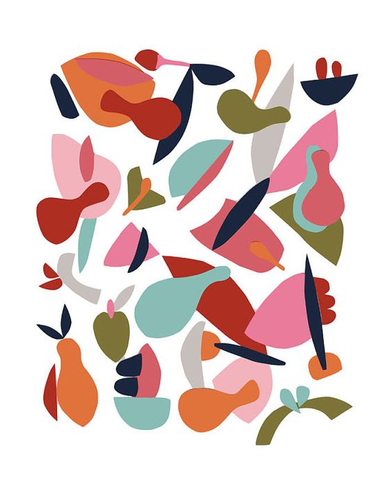 Colorful print scandinavian poster abstract by Helsinkimonamour
