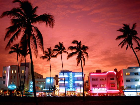 South Beach in Miami Florida--In our 20's, this was a fantastic place for Mike and Marta to enjoy some night life before we left for a relaxing cruise in the Caribbean.