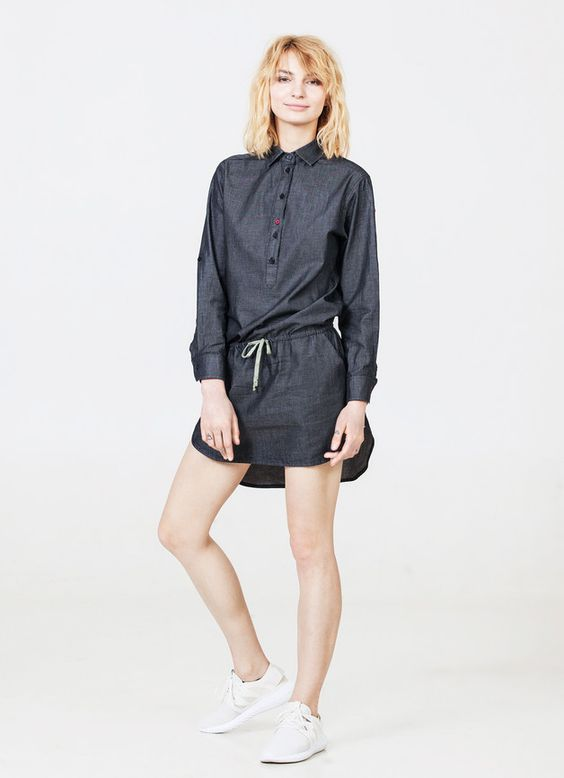 Great gift for minimalists. Tunic Tops – Tunic dress in charcoal denim – a unique product by IMYourShirt via en.DaWanda.com