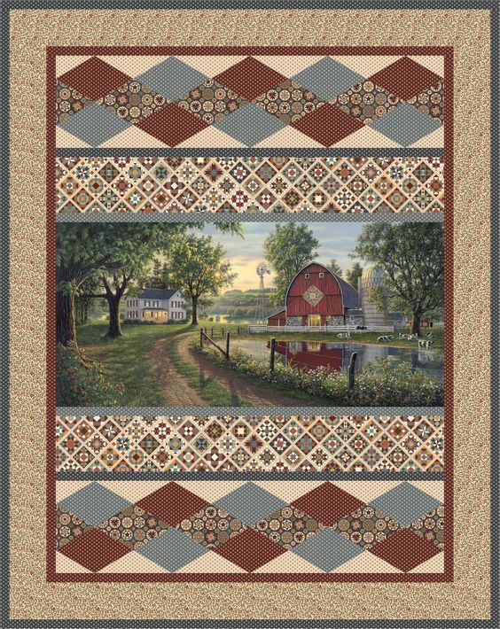 Mosaic Farm Fabric Panel Quilts Quilts Panel Quilt Patterns