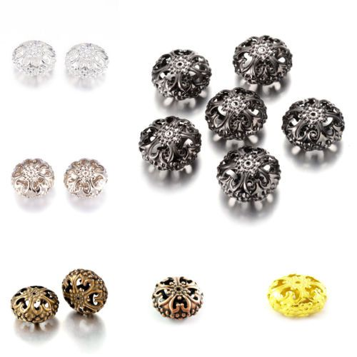 Lots Nice Metal Smooth Round Loose Charm Spacer Beads Tibet Silver DIY Jewelry