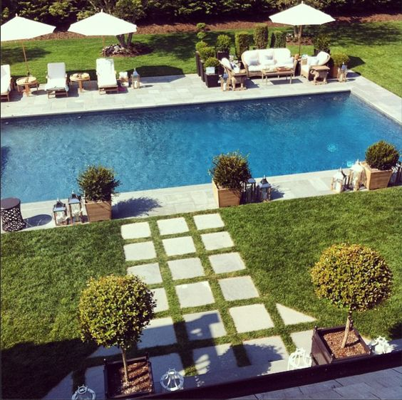 Pools concrete pavers and walkways on pinterest for Pool design hamptons