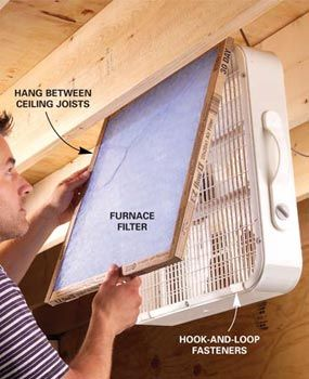 Use a furnace filter and a box fan - Attach a furnace filter with hook-and-loop tabs to the air intake of a box fan and hang the fan between the ceiling joists so you don't head your head while you work. Just switch it on and fine dust particles from SANDING and SAWING will be drawn into the filter by the vacuum created by the fan
