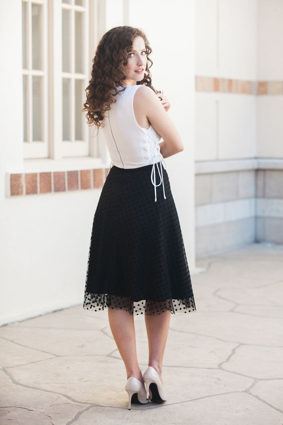"Cute polka dot skirt! Criss-Cross Lace Up Sleeveless Top, New Romantic Black Polka Dot - 27"" Length"