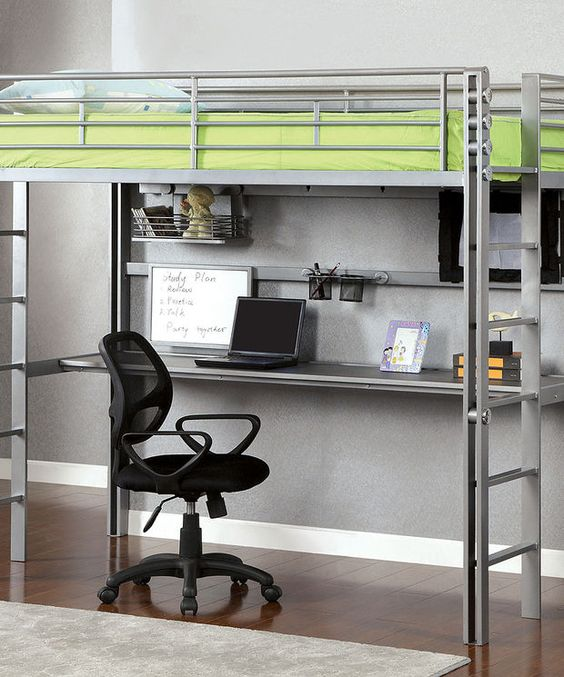 Silver Twin Loft Bed & Workstation | zulily