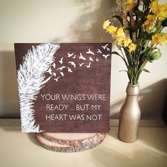 Angel Wings Wooden Wall Decor Sign. Your Wings Were Ready