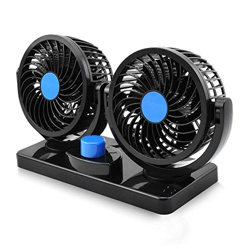 Electric Car Fan Dual Head 2 Speed 12v Cooling Air Circulator 360 Degree Rotatable Auto Fan For Sedan Suv Rv Boat Auto Vehicles Golf Electric Car Fan Sedan