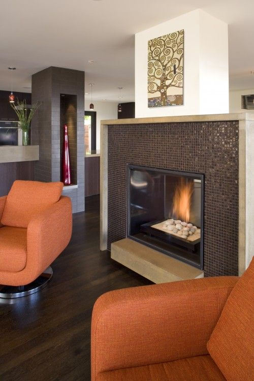 Fireplace to break up the space