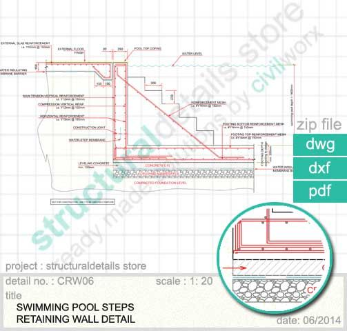 Swimming Pool Reinforcement : Swimming pool steps retaining wall detail of