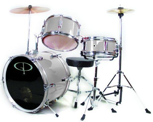 GP50 3-Piece Junior Child/Kids Drum Set with Sticks (For 3 to 8 yrs) Metallic Silver by GP. $159.00. The GP-50 3 Piece Junior drum set features a hi-hat stand for added fun and to help develop your child's 4-way coordination. This smaller size drum set is perfect for the young student drummer. With fully tunable top and bottom heads, real wood shells & chrome plated metal hardware, its durable quality will hold up to your child's playing!   The snare drum and adjustible ang...