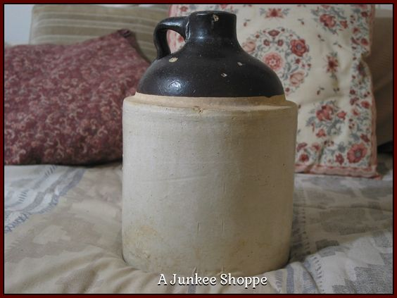 Jug Clay Crock Bottle or Antique Ceramic Stoneware 1 Gallon Whiskey Heavy Container Brown Beige   Junk0875  http://ajunkeeshoppe.blogspot.com/