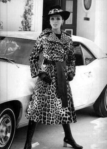 Joan Collins in great vintage leopard coat