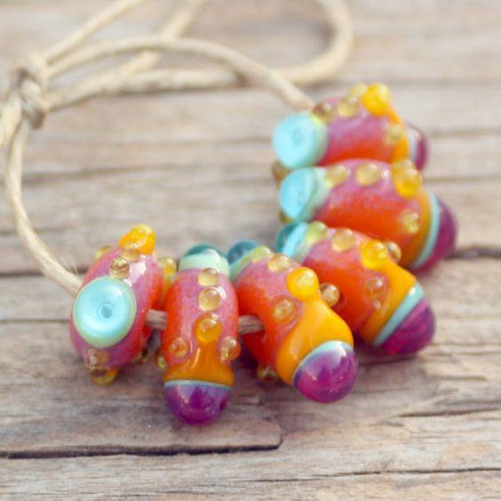 Sunrise 6 Lampwork Beads by Meital on Etsy, $24.00