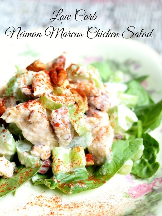Low carb copycat Neiman Marcus chicken salad is adapted from Helen Corbitts cookbook and has all the yum without all the carbs. lowcarb-ology.com:
