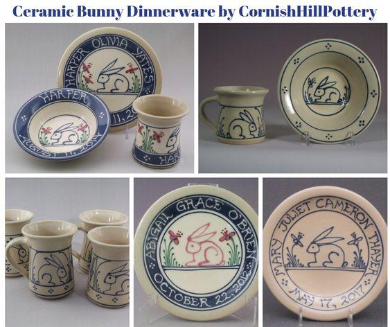 Ceramic Bunny Dinnerware by CornishHillPottery