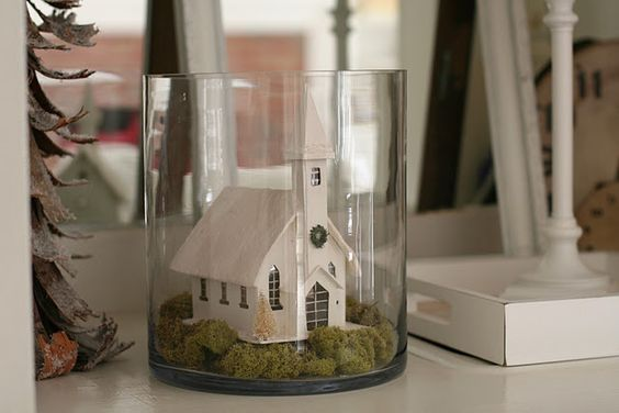 not a cloche, but nice idea... though I wouldnt have a church...