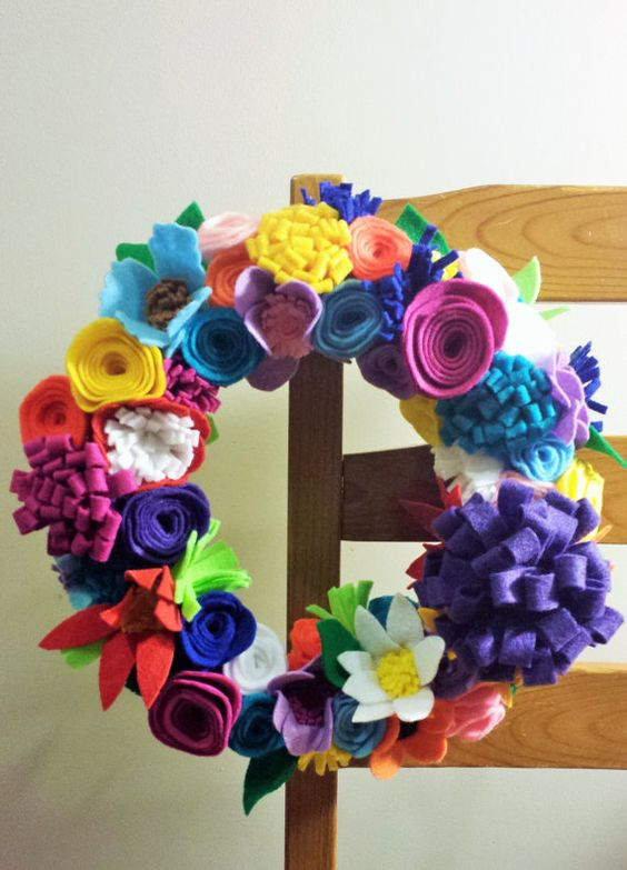 Bright Spring Felt Flower Wreath with Pink Purple Blue Red